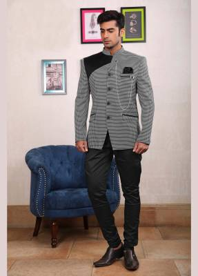 Black and Grey Jodhpuri Suit with Black Trouser