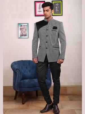 Black and Grey Jodhpuri Suit with Black Trouser