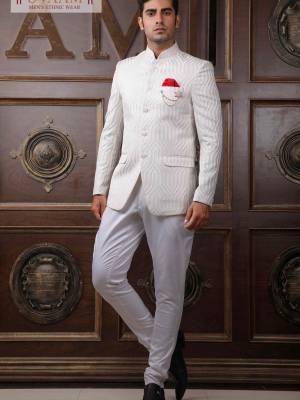 White Designer Jodhpuri Suit with Trouser