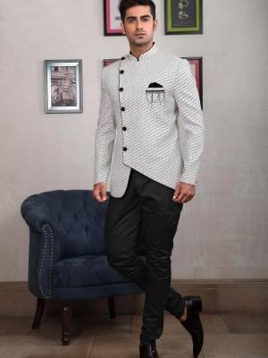 Cream Jodhpuri Suit with Black Trouser