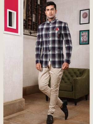 Blue Chex Jodhpuri Suit with Trouser