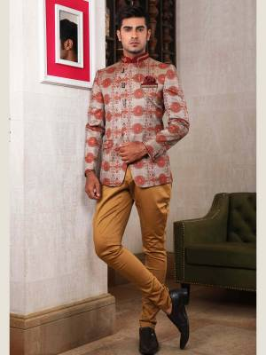 Grey with Red Jodhpuri Suit with Trouser
