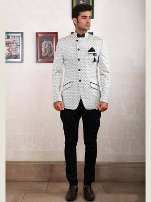 White Jodhpuri Suit with Black Trouser