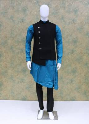 Sky Blue Jacket Kurta Set