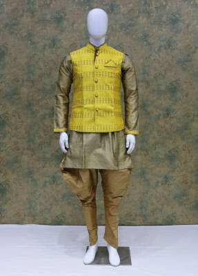 Cream Yellow Jacket Kurta Set