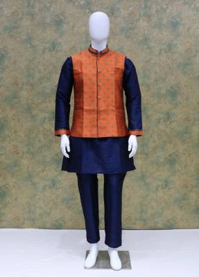 Blue Rust Jacket Kurta Set