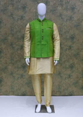 Cream Paroot Jacket Kurta Set