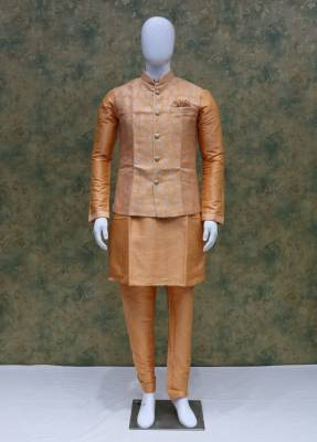 Peach Jacket Kurta Set