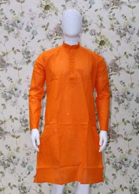 Orange Parrot Cotton Kurta