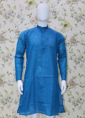 Blue Parrot Cotton Kurta