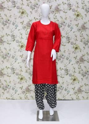 Red rayon kurti with Black cotton patiyala