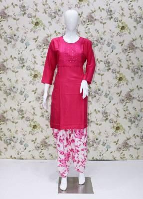 Pink rayon kurti with white Pink  cotton patiyala