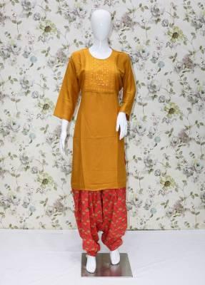 Yellow rayon kurti with Carrot Pink cotton patiyala