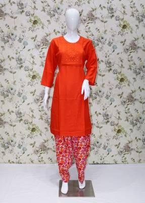 Orange rayon kurti with white Orange cotton patiyala