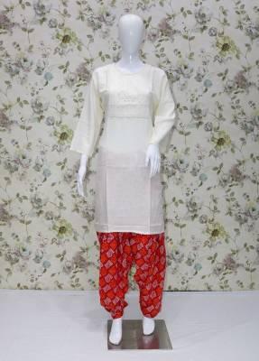 white rayon kurti with Red cotton patiyala