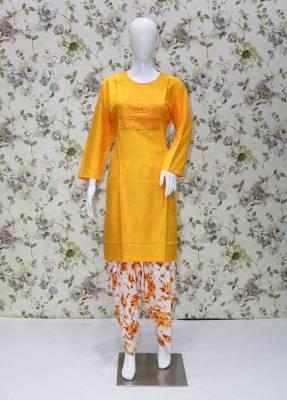 Yellow rayon kurti with Cream cotton patiyala