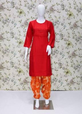 Red rayon kurti with Orange cotton patiyala