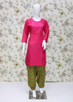 Pink rayon kurti with white Parrot patiyala