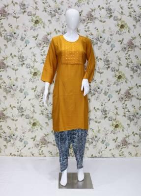 Yellow rayon kurti with Blue cotton patiyala