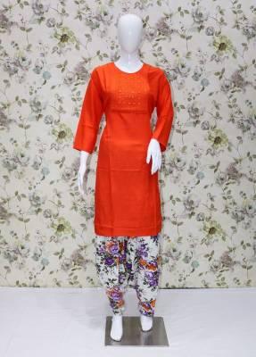 Orange rayon kurti with Purple white cotton patiyala