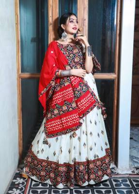 White Silk Circular Chaniyacholi With Red Dupatta
