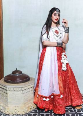 Red Silk Circular Chaniyacholi With White Dupatta