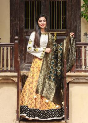Lemon Silk Circular Chaniyacholi With BottleGreen Dupatta