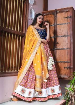 Rani Silk Circular Chaniyacholi With Mustard Dupatta