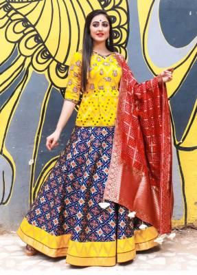 Blue Silk Circular Chaniyacholi With Red Dupatta