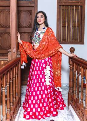 Carrot Pink Silk Circular Chaniyacholi With Red Dupatta