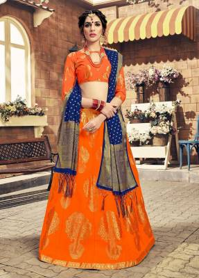 Orange Silk Circular Chaniyacholi With Blue Dupatta