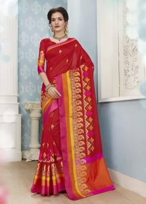 Red Designer Party Wear Cotton Saree