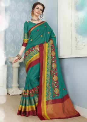 Green Designer Party Wear Cotton Saree