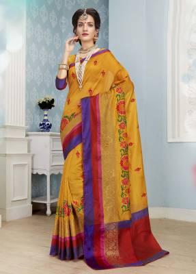Yellow Designer Party Wear Cotton Saree