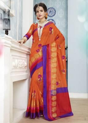 Orange Designer Party Wear Cotton Saree