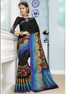 Black Designer Party Wear Cotton Saree