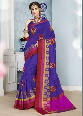 Purple Designer Party Wear Cotton Saree