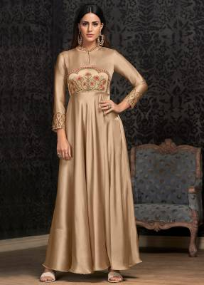 Beige Readymade Designer Dress