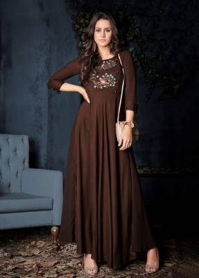 Brown Readymade Designer Dress