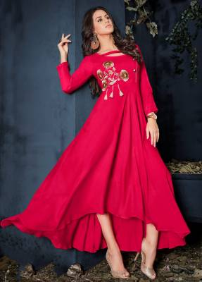 Dark Pink Readymade Designer Dress