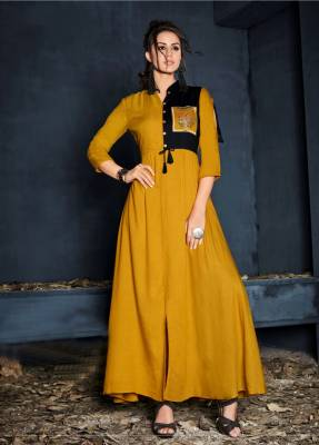 Mustard Yellow Readymade Designer Dress