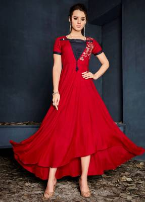 Red Readymade Designer Dress