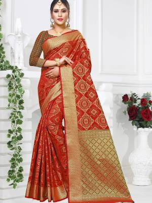 Red Patola Art Silk Saree