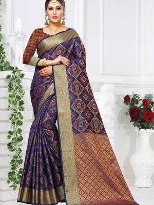 Royal Blue Patola Art Silk Saree