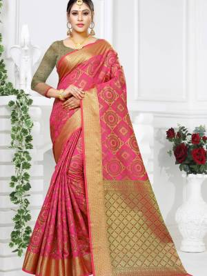 Fuschia Pink Patola Art Silk Saree