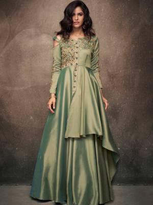 Mint Green Satin Silk Designer Dress