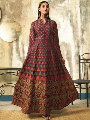 Purple Chanderi Designer Gown