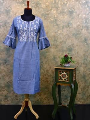 Cyan Cotton Designer Kurti