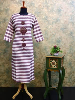 Cream & Purple Cotton Designer Kurti