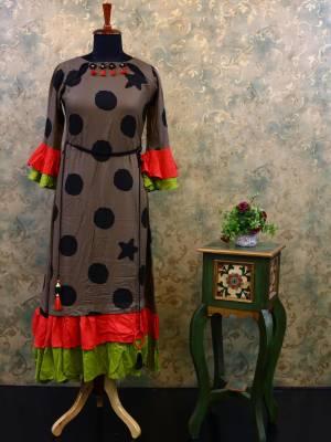 Light Brown Cotton Designer Kurti